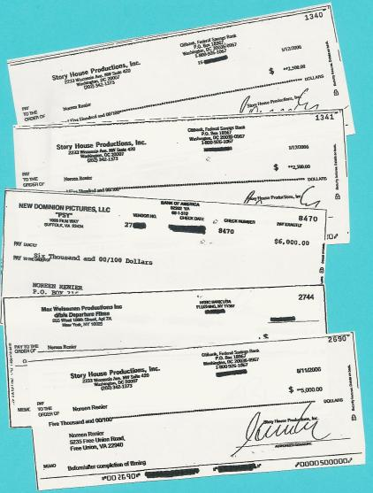 Noreen Renier checks received from TV production companies